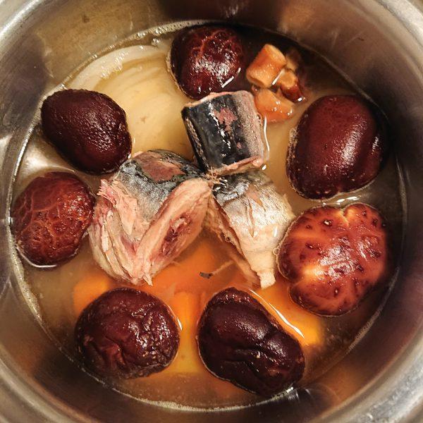 干し椎茸とさば缶のみそ煮