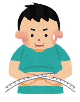 腹囲をはかる肥満の男性