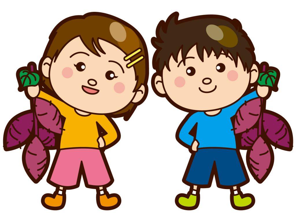 幼稚園児の芋ほりの様子