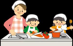 幼児二人が調理をしている